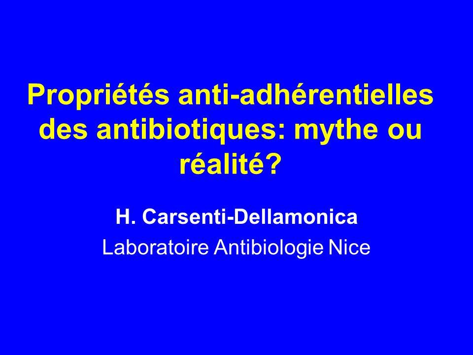 Propriétés anti-adhérentielles des antibiotiques: mythe ou réalité? H. Carsenti-Dellamonica Laboratoire Antibiologie Nice