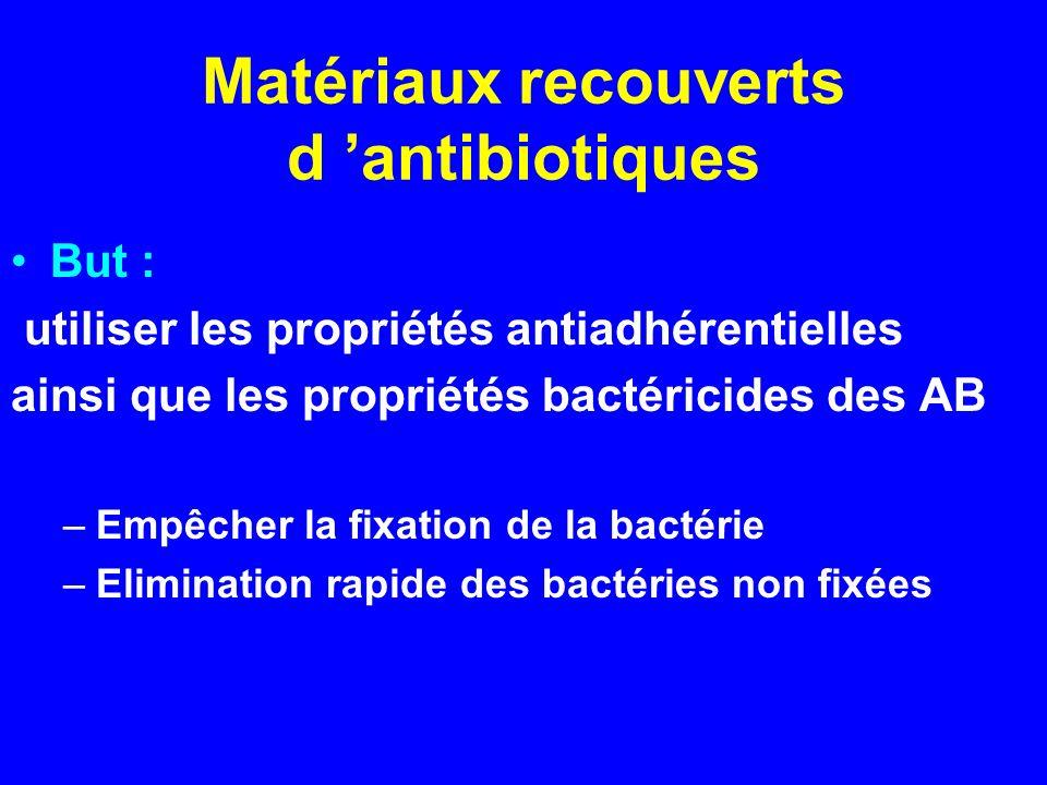Matériaux recouverts d antibiotiques But : utiliser les propriétés antiadhérentielles ainsi que les propriétés bactéricides des AB –Empêcher la fixati
