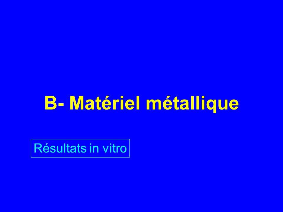 B- Matériel métallique Résultats in vitro