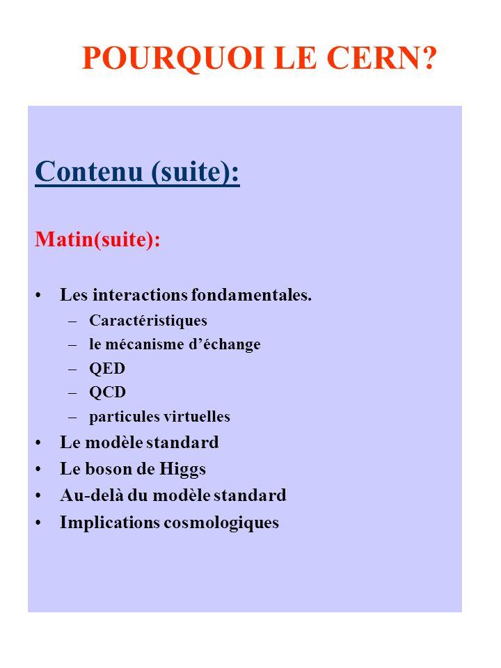 POURQUOI LE CERN? Contenu (suite): Matin(suite): Les interactions fondamentales. –Caractéristiques –le mécanisme déchange –QED –QCD –particules virtue