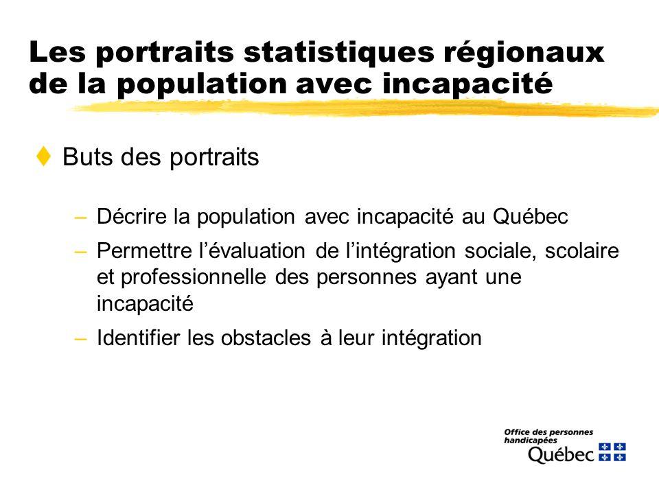 Les portraits statistiques régionaux de la population avec incapacité tButs des portraits –Décrire la population avec incapacité au Québec –Permettre lévaluation de lintégration sociale, scolaire et professionnelle des personnes ayant une incapacité –Identifier les obstacles à leur intégration