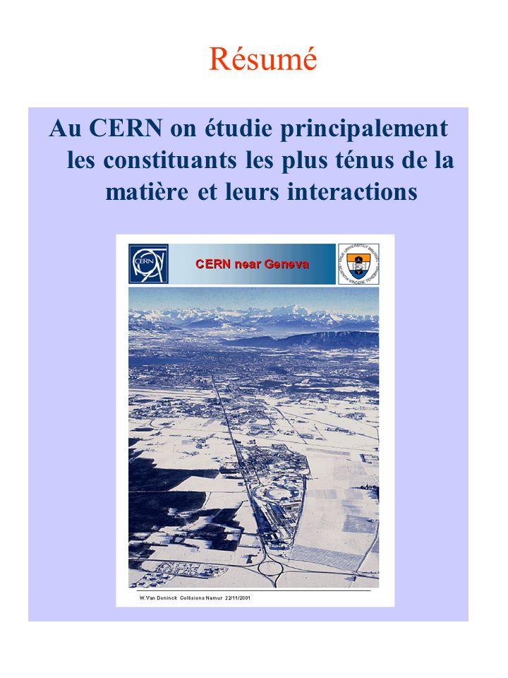 Résumé Au CERN on étudie principalement les constituants les plus ténus de la matière et leurs interactions