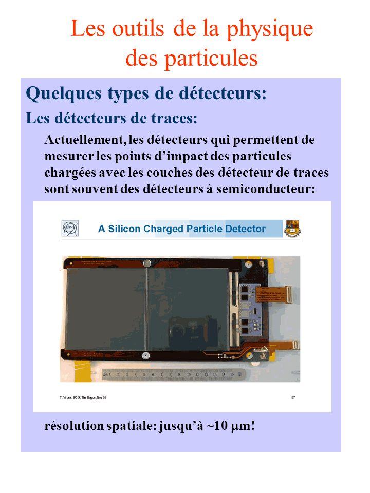 Les outils de la physique des particules Quelques types de détecteurs: Les détecteurs de traces: Actuellement, les détecteurs qui permettent de mesurer les points dimpact des particules chargées avec les couches des détecteur de traces sont souvent des détecteurs à semiconducteur: résolution spatiale: jusquà ~10 m!