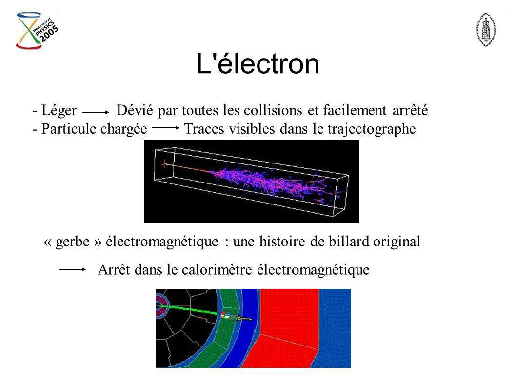 L'électron - Léger Dévié par toutes les collisions et facilement arrêté - Particule chargée Traces visibles dans le trajectographe « gerbe » électroma