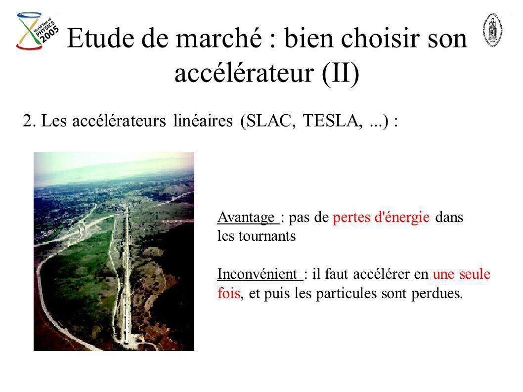 Etude de marché : bien choisir son accélérateur (II) 2. Les accélérateurs linéaires (SLAC, TESLA,...) : Avantage : pas de pertes d'énergie dans les to