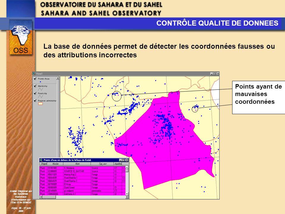 Atelier Régional sur les Systèmes Nationaux dInformation sur lEau Et le SEMIDE Alger, 26 - 27 juin 2006 Points ayant de mauvaises coordonnées CONTRÔLE