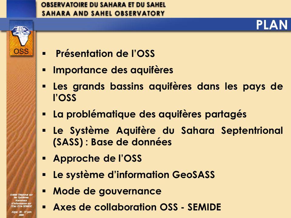 Atelier Régional sur les Systèmes Nationaux dInformation sur lEau Et le SEMIDE Alger, 26 - 27 juin 2006 PLAN Présentation de lOSS Importance des aquif