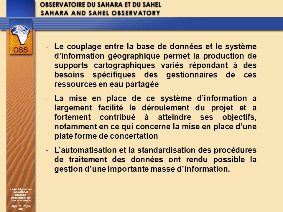 Atelier Régional sur les Systèmes Nationaux dInformation sur lEau Et le SEMIDE Alger, 26 - 27 juin 2006 -Le couplage entre la base de données et le sy