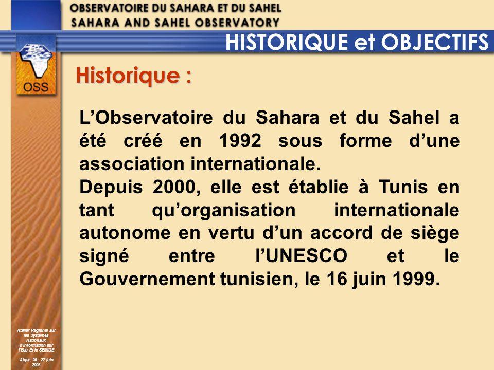 Atelier Régional sur les Systèmes Nationaux dInformation sur lEau Et le SEMIDE Alger, 26 - 27 juin 2006 Le programme se déroule en trois phases : - Phase 1 : sensibilisation et proposition daction sur les aquifères partagés (en cours pour: le bassin de Juba Ougaden, le bassin Sénégalo-Mauritanien, le bassin du lac Tchad) - Phase 2 : mise en oeuvre des projets (en cours : SASS, SAI) - Phase 3 : Pérennisation de la structure de gestion des bassins (adoption doutils communs de gestion, échange dinformations, planification …) Cette approche est soutenue par un programme de formation spécifique visant le renforcement des capacités humaines et matérielles des administrations des pays concernés.