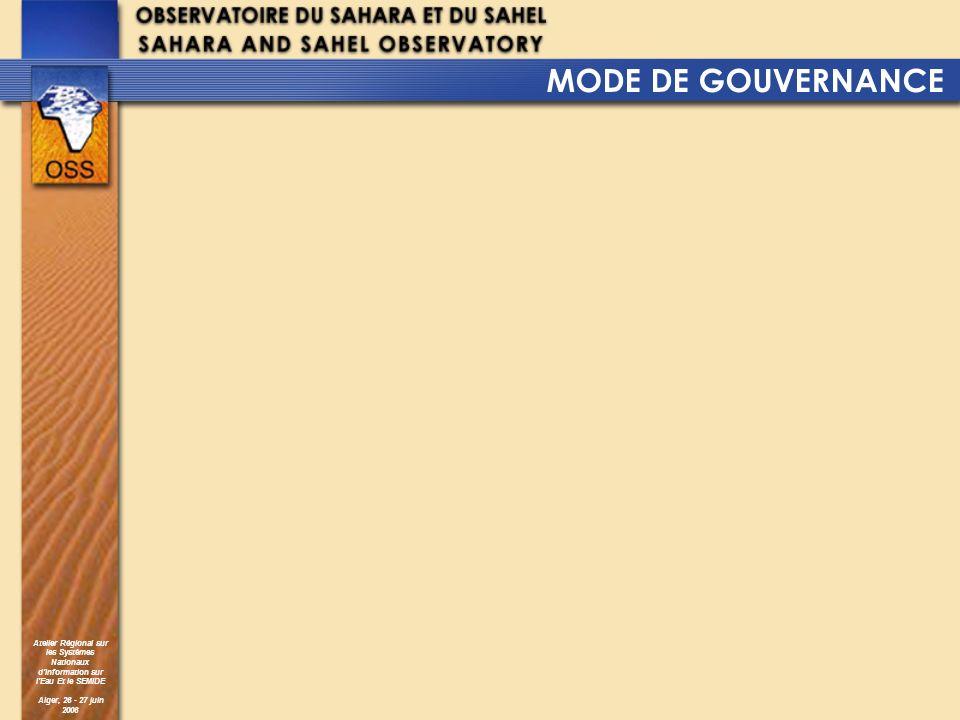 Atelier Régional sur les Systèmes Nationaux dInformation sur lEau Et le SEMIDE Alger, 26 - 27 juin 2006 MODE DE GOUVERNANCE