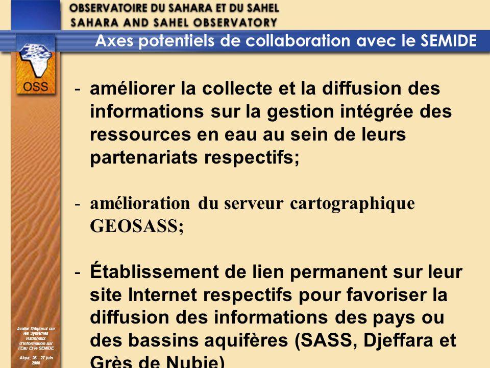 Atelier Régional sur les Systèmes Nationaux dInformation sur lEau Et le SEMIDE Alger, 26 - 27 juin 2006 Axes potentiels de collaboration avec le SEMID