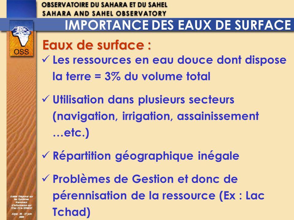 Atelier Régional sur les Systèmes Nationaux dInformation sur lEau Et le SEMIDE Alger, 26 - 27 juin 2006 IMPORTANCE DES EAUX DE SURFACE Les ressources