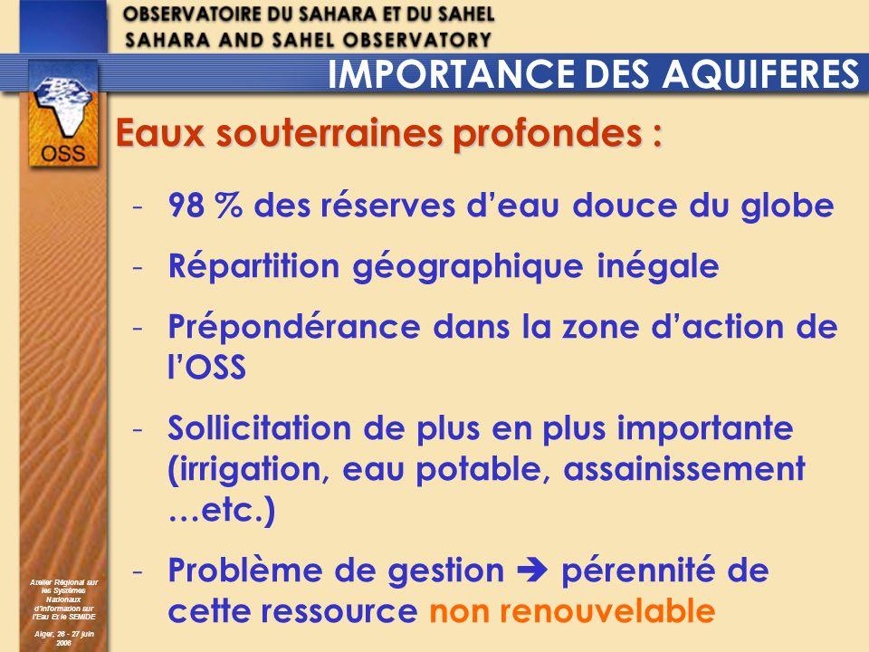 Atelier Régional sur les Systèmes Nationaux dInformation sur lEau Et le SEMIDE Alger, 26 - 27 juin 2006 IMPORTANCE DES AQUIFERES - 98 % des réserves d