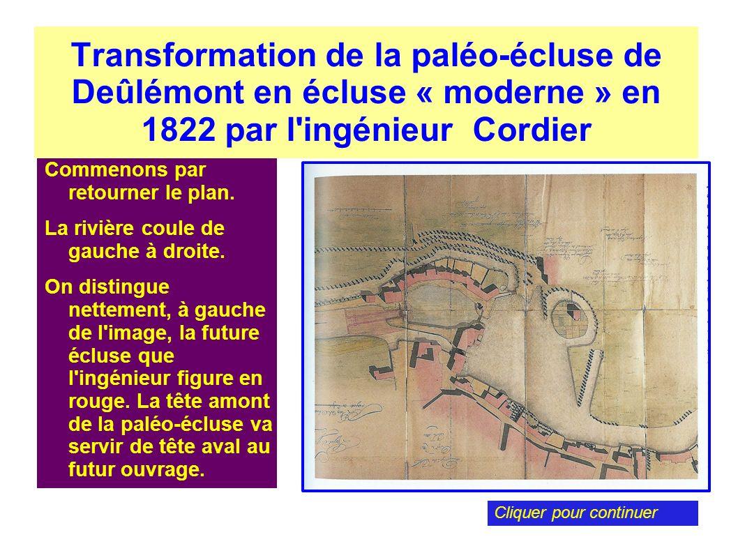 Transformation de la paléo-écluse de Deûlémont en écluse « moderne » en 1822 par l ingénieur Cordier À présent superposons le plan qui sera établi en 1912 par un ingénieur ordinaire.
