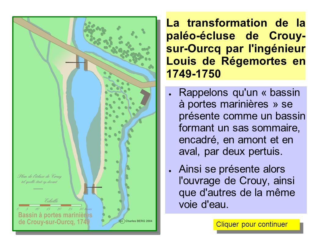 La transformation de la paléo-écluse de Crouy-sur- Ourcq par l ingénieur Louis de Régemortes en 1749 L ingénieur fait un relevé de l ouvrage existant......et dresse le plan de celui qu il va concevoir.
