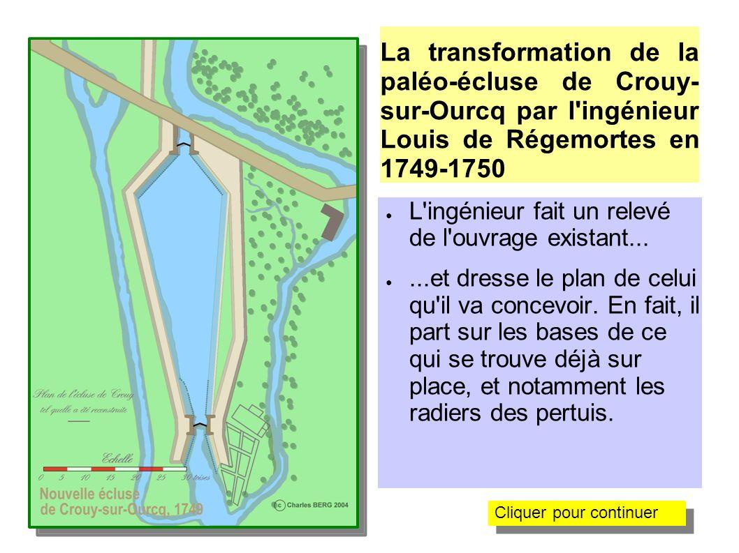 La transformation de la paléo-écluse de Crouy-sur- Ourcq par l ingénieur Louis de Régemortes en 1749 Il établit sur ces radiers de nouvelles têtes qui recevront des portes à vantaux busqués.