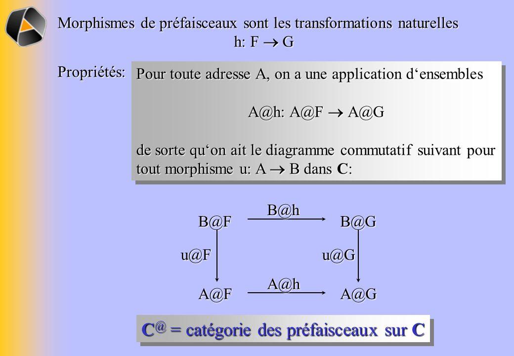 Morphismes de préfaisceaux sont les transformations naturelles h: F G Propriétés: Pour toute adresse A, on a une application densembles A@h: A@F A@G d