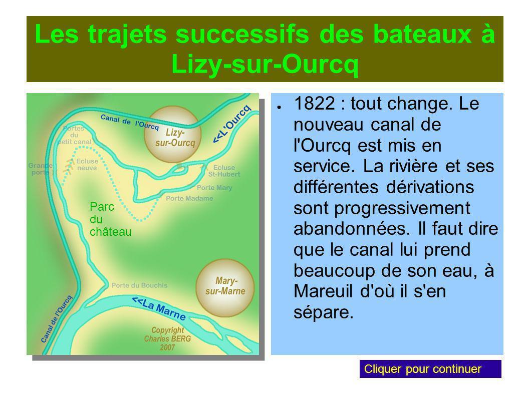 Les trajets successifs des bateaux à Lizy-sur-Ourcq 1822 : tout change.