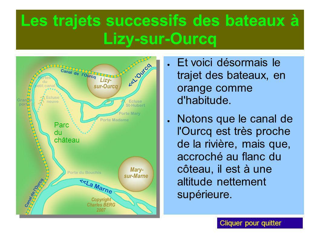 Les trajets successifs des bateaux à Lizy-sur-Ourcq Et voici désormais le trajet des bateaux, en orange comme d habitude.