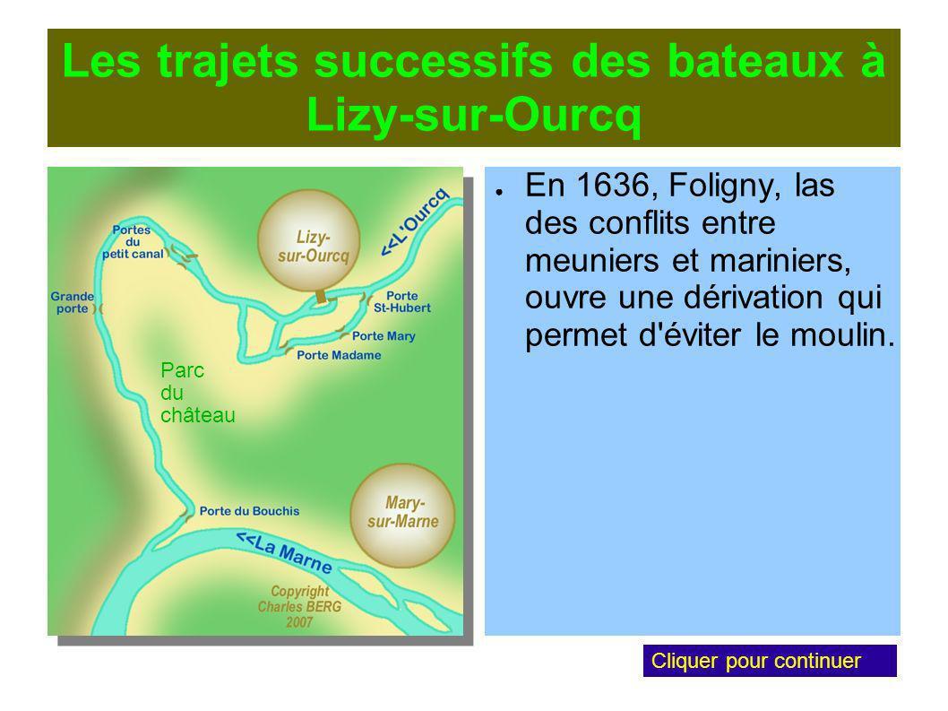 Les trajets successifs des bateaux à Lizy-sur-Ourcq En 1636, Foligny, las des conflits entre meuniers et mariniers, ouvre une dérivation qui permet d éviter le moulin.