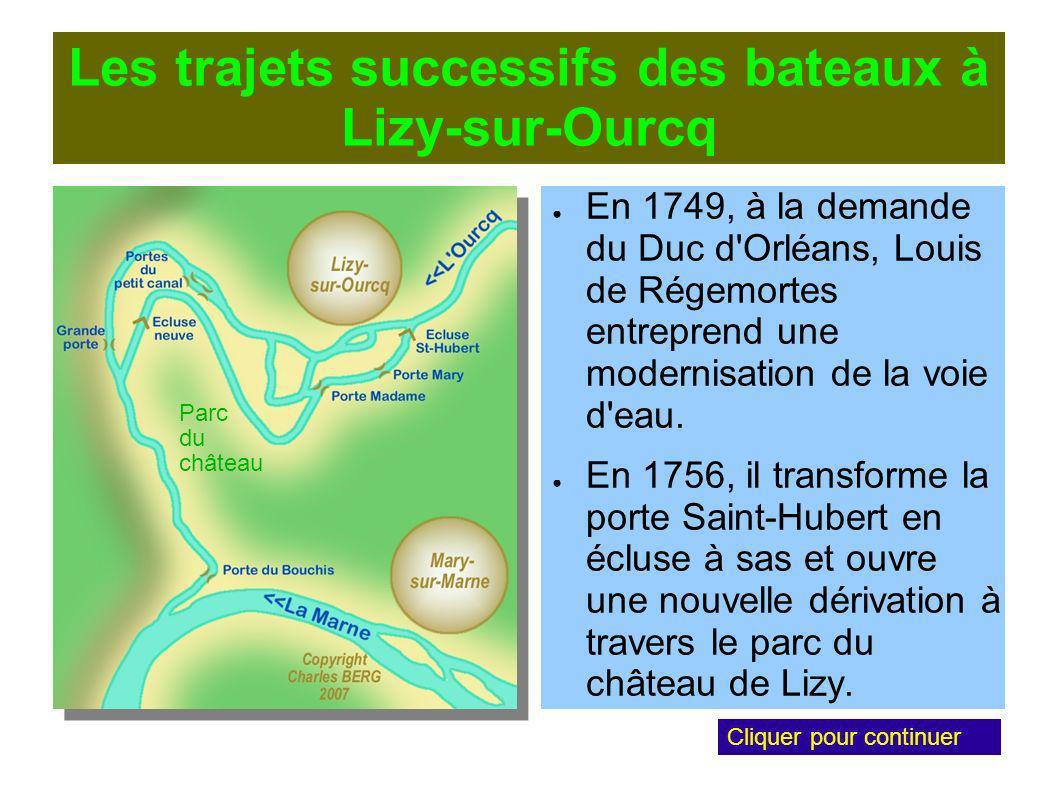 Les trajets successifs des bateaux à Lizy-sur-Ourcq En 1749, à la demande du Duc d Orléans, Louis de Régemortes entreprend une modernisation de la voie d eau.