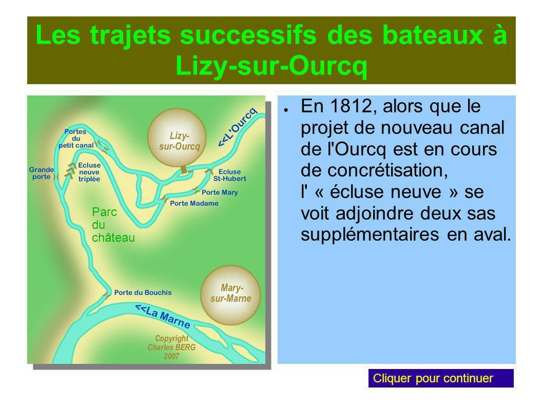 Les trajets successifs des bateaux à Lizy-sur-Ourcq En 1812, alors que le projet de nouveau canal de l Ourcq est en cours de concrétisation, l « écluse neuve » se voit adjoindre deux sas supplémentaires en aval.