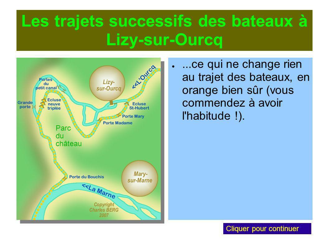 Les trajets successifs des bateaux à Lizy-sur-Ourcq...ce qui ne change rien au trajet des bateaux, en orange bien sûr (vous commendez à avoir l habitude !).