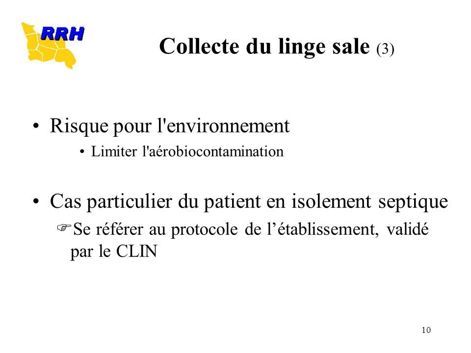10 Risque pour l'environnement Limiter l'aérobiocontamination Cas particulier du patient en isolement septique Se référer au protocole de létablisseme