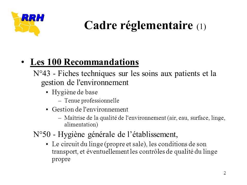 2 Cadre réglementaire (1) Les 100 Recommandations N°43 - Fiches techniques sur les soins aux patients et la gestion de l'environnement Hygiène de base