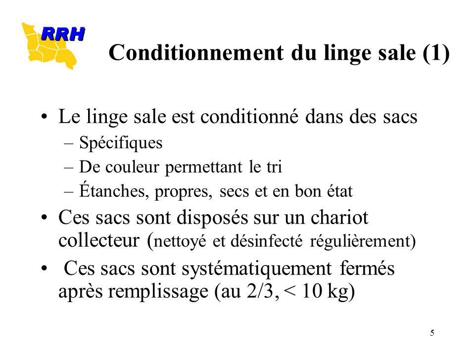 5 Conditionnement du linge sale (1) Le linge sale est conditionné dans des sacs –Spécifiques –De couleur permettant le tri –Étanches, propres, secs et