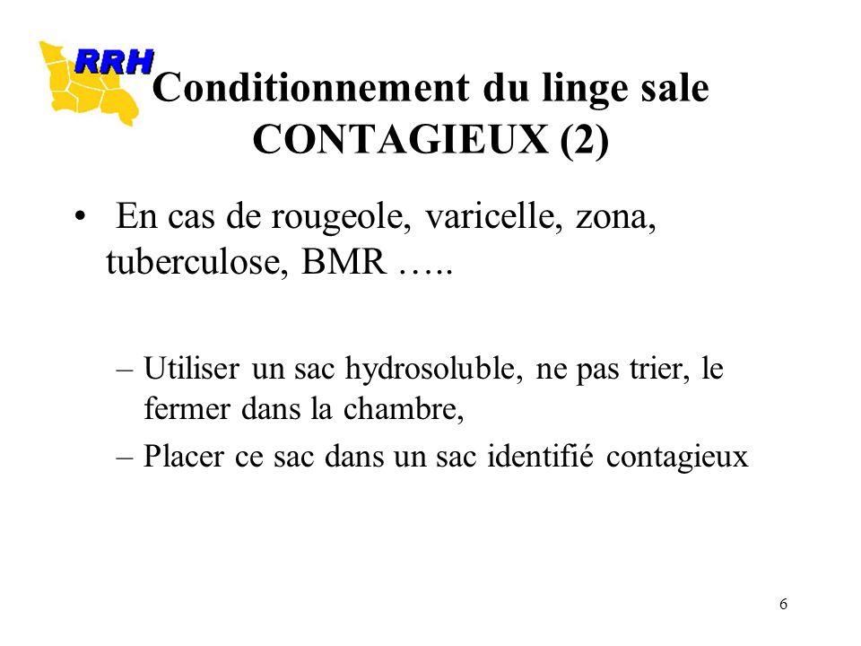 6 Conditionnement du linge sale CONTAGIEUX (2) En cas de rougeole, varicelle, zona, tuberculose, BMR ….. –Utiliser un sac hydrosoluble, ne pas trier,