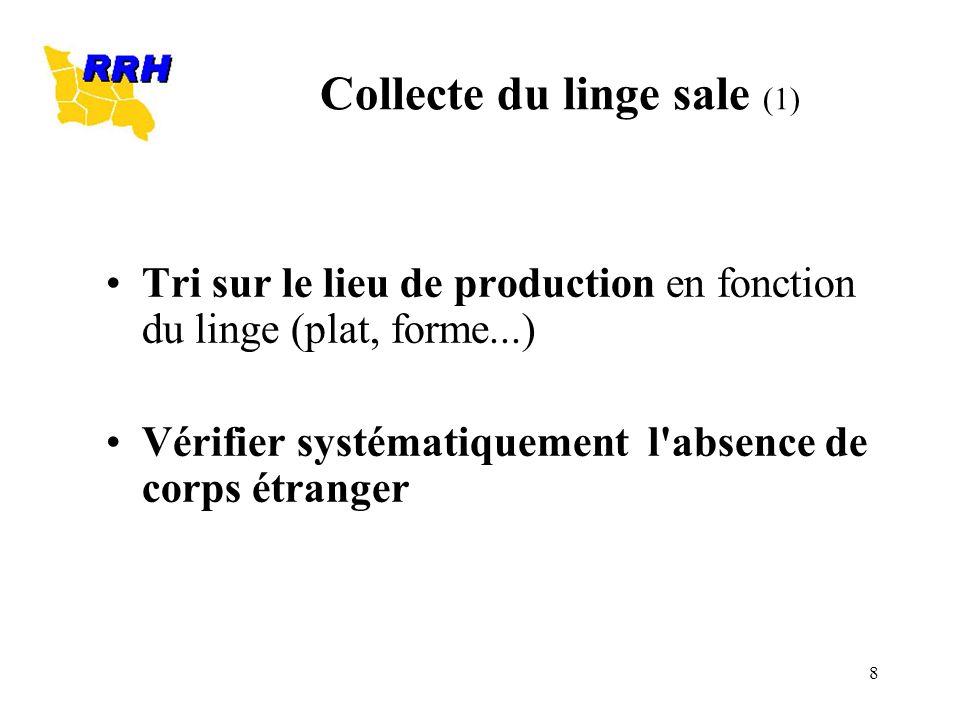8 Collecte du linge sale (1) Tri sur le lieu de production en fonction du linge (plat, forme...) Vérifier systématiquement l'absence de corps étranger