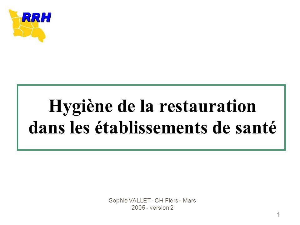 Sophie VALLET - CH Flers - Mars 2005 - version 2 1 Hygiène de la restauration dans les établissements de santé
