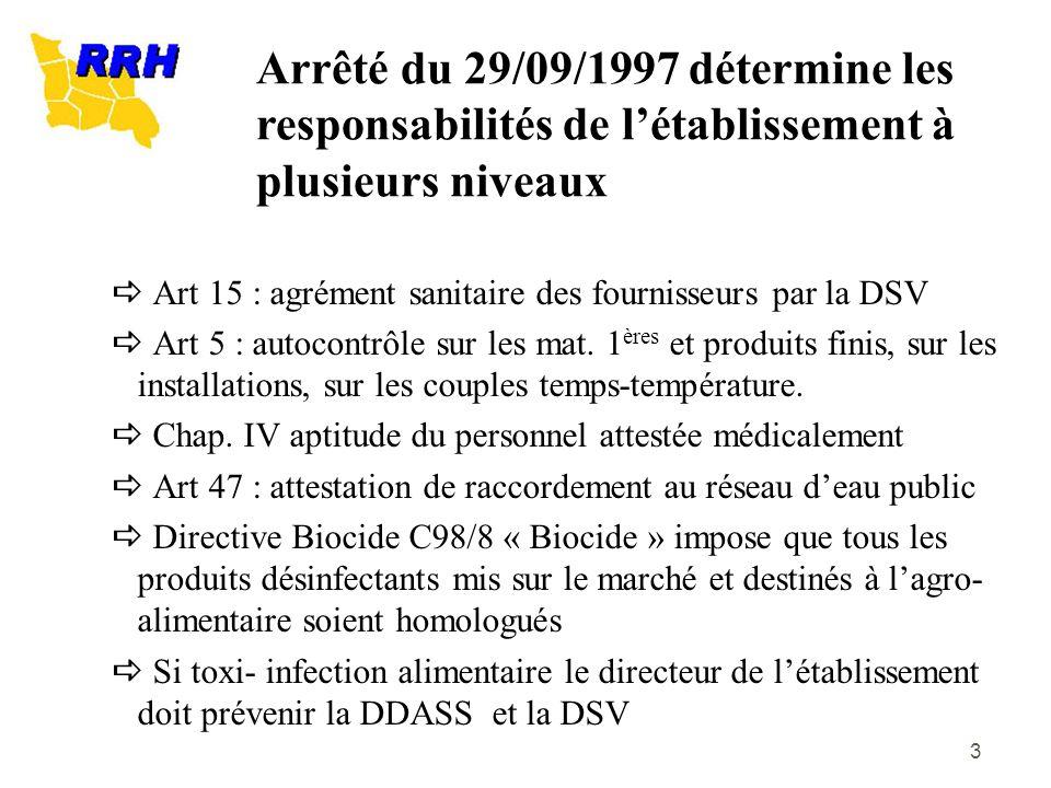 3 Art 15 : agrément sanitaire des fournisseurs par la DSV Art 5 : autocontrôle sur les mat. 1 ères et produits finis, sur les installations, sur les c