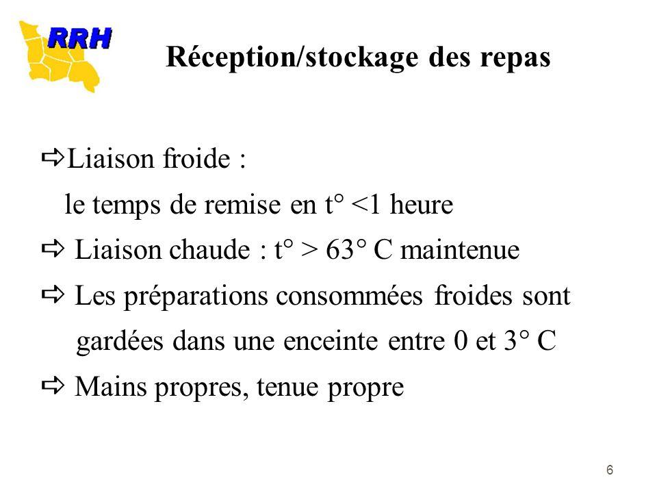 6 Liaison froide : le temps de remise en t° <1 heure Liaison chaude : t° > 63° C maintenue Les préparations consommées froides sont gardées dans une e