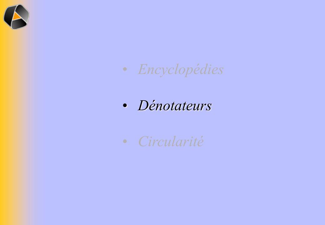 Encyclopédies Dénotateurs Dénotateurs Circularité
