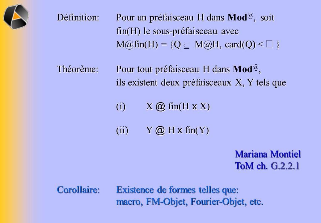 Définition: Pour un préfaisceau H dans, soit fin(H) le sous-préfaisceau avec M@fin(H) = {Q M@H, card(Q) < } Définition: Pour un préfaisceau H dans Mod @, soit fin(H) le sous-préfaisceau avec M@fin(H) = {Q M@H, card(Q) < } Théorème: Pour tout préfaisceau H dans, ils existent deux préfaisceaux X, Y tels que Théorème: Pour tout préfaisceau H dans Mod @, ils existent deux préfaisceaux X, Y tels que (i)X @ fin(H x X) (ii)Y @ H x fin(Y) Mariana Montiel ToM ch.
