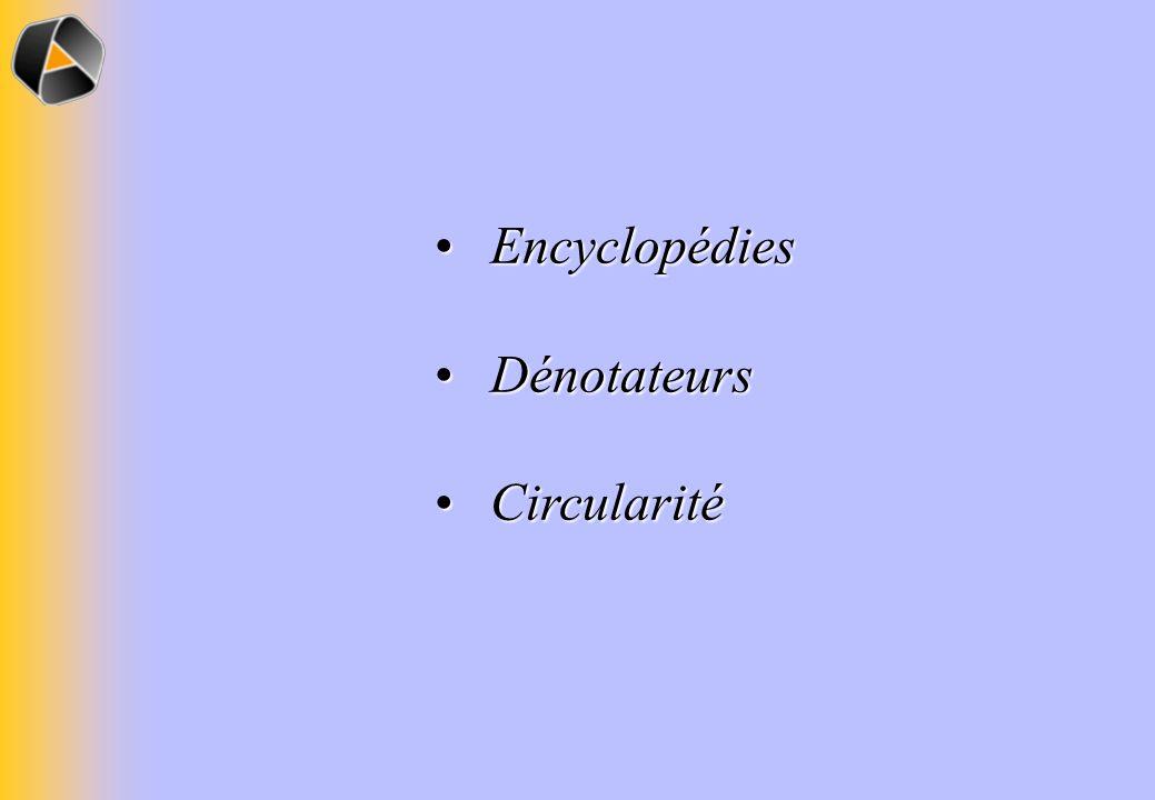 Encyclopédies Encyclopédies Dénotateurs Dénotateurs Circularité Circularité
