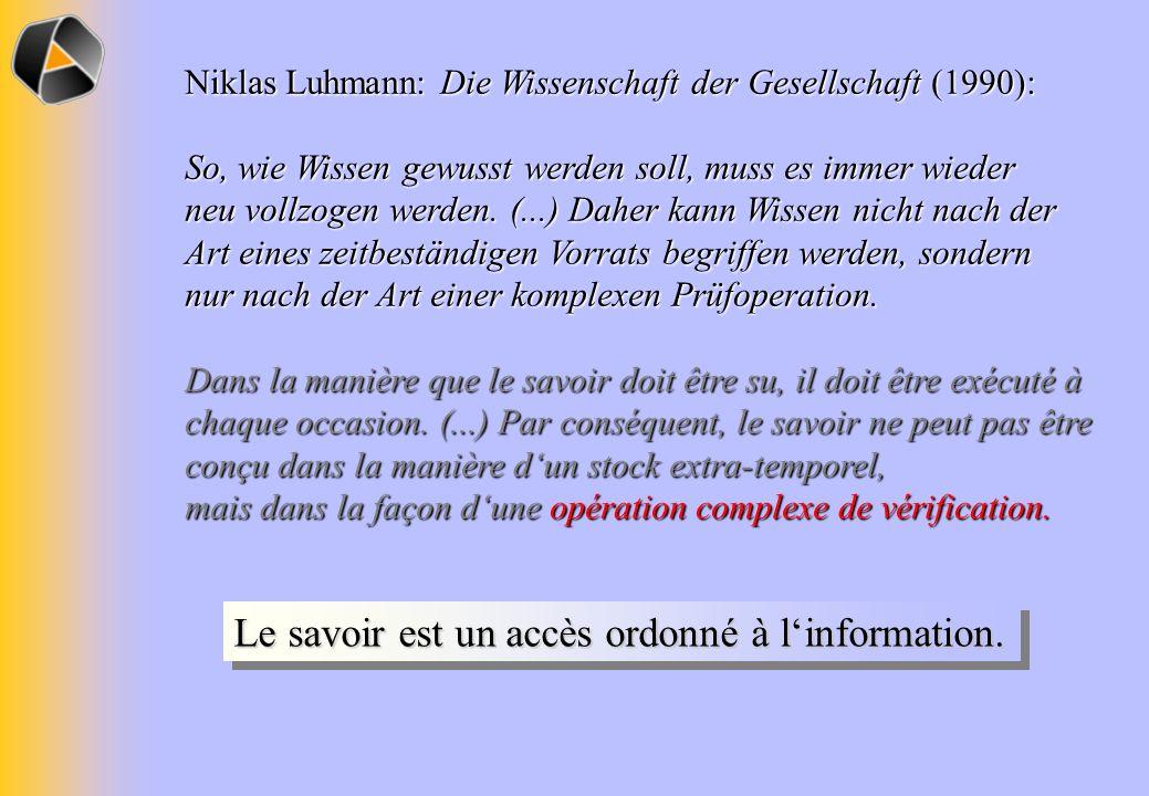 Niklas Luhmann: Die Wissenschaft der Gesellschaft (1990): So, wie Wissen gewusst werden soll, muss es immer wieder neu vollzogen werden. (...) Daher k