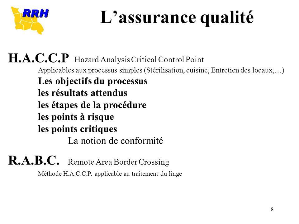 8 H.A.C.C.P Hazard Analysis Critical Control Point Applicables aux processus simples (Stérilisation, cuisine, Entretien des locaux,…) Les objectifs du