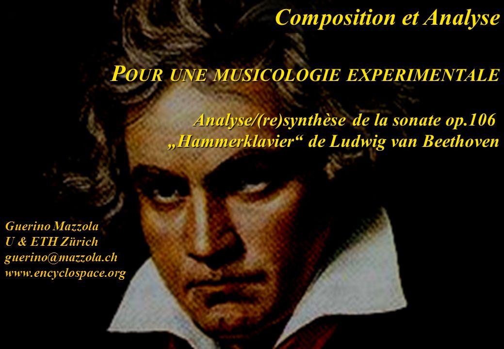 Guerino Mazzola U & ETH Zürich guerino@mazzola.chwww.encyclospace.org Composition et Analyse P OUR UNE MUSICOLOGIE EXPERIMENTALE Analyse/(re)synthèse de la sonate op.106 Hammerklavier de Ludwig van Beethoven