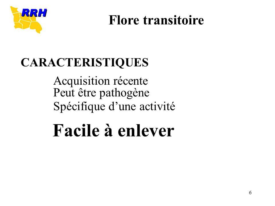 6 CARACTERISTIQUES Acquisition récente Peut être pathogène Spécifique dune activité Facile à enlever Flore transitoire