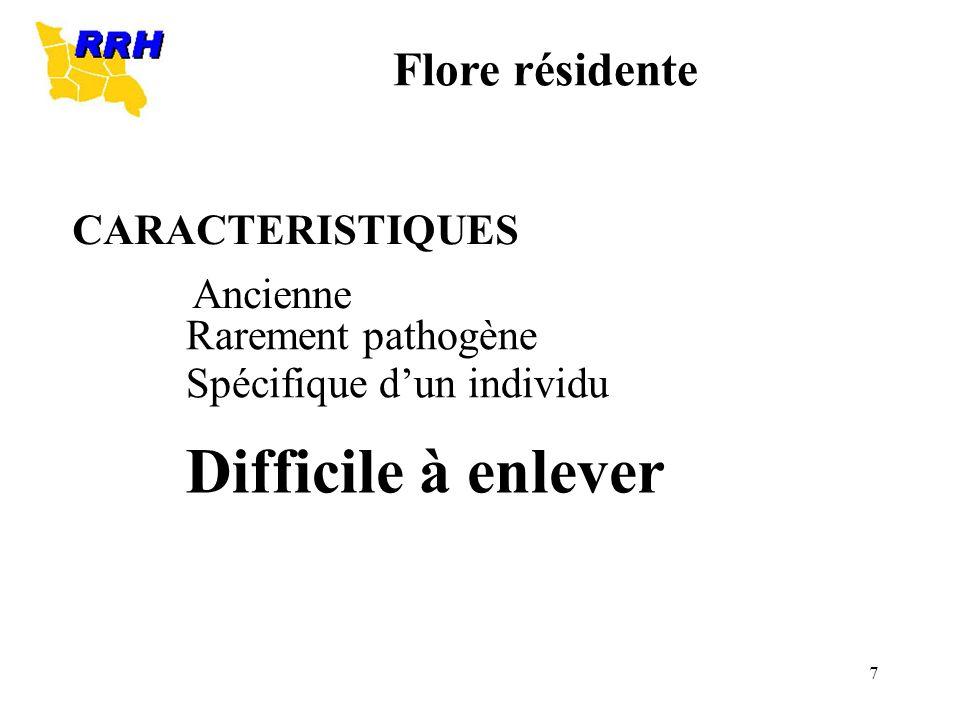 7 CARACTERISTIQUES Ancienne Rarement pathogène Spécifique dun individu Difficile à enlever Flore résidente