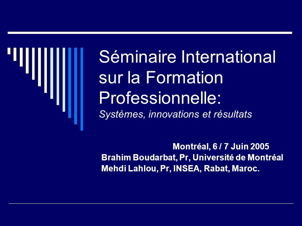 Séminaire International sur la Formation Professionnelle: Systèmes, innovations et résultats Montréal, 6 / 7 Juin 2005 Brahim Boudarbat, Pr, Universit