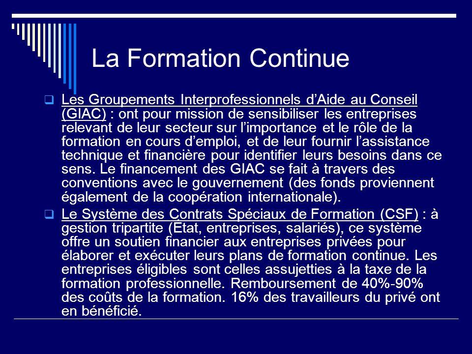 La Formation Continue Les Groupements Interprofessionnels dAide au Conseil (GIAC) : ont pour mission de sensibiliser les entreprises relevant de leur