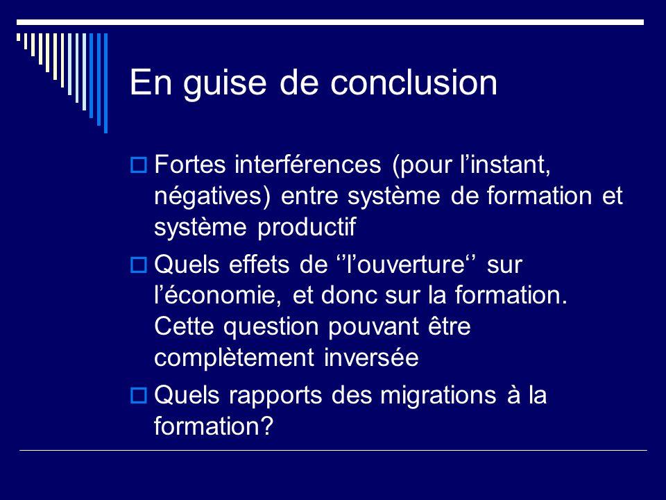 En guise de conclusion Fortes interférences (pour linstant, négatives) entre système de formation et système productif Quels effets de louverture sur