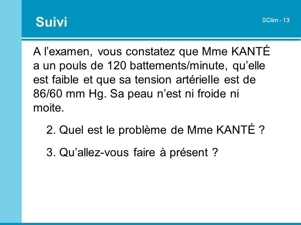 A lexamen, vous constatez que Mme KANTÉ a un pouls de 120 battements/minute, quelle est faible et que sa tension artérielle est de 86/60 mm Hg. Sa pea