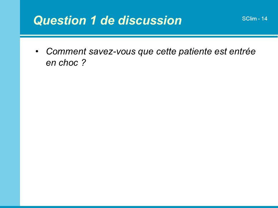 Question 1 de discussion Comment savez-vous que cette patiente est entrée en choc ? SClim - 14