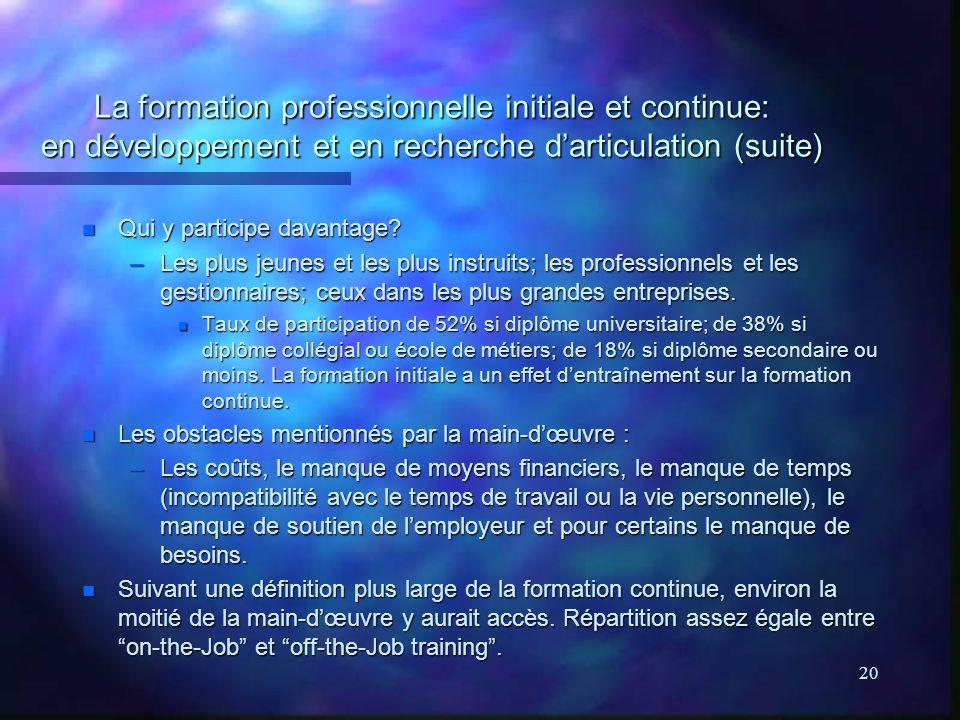 20 La formation professionnelle initiale et continue: en développement et en recherche darticulation (suite) n Qui y participe davantage.