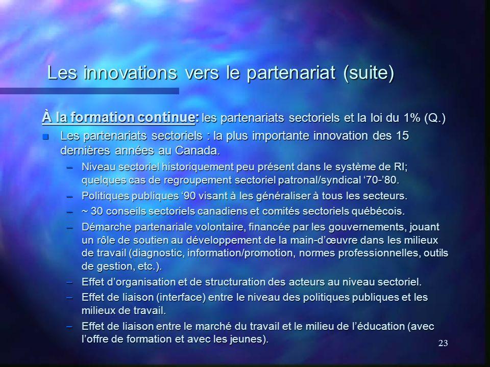 23 Les innovations vers le partenariat (suite) À la formation continue: les partenariats sectoriels et la loi du 1% (Q.) n Les partenariats sectoriels : la plus importante innovation des 15 dernières années au Canada.